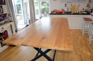 Oak table top steel legs